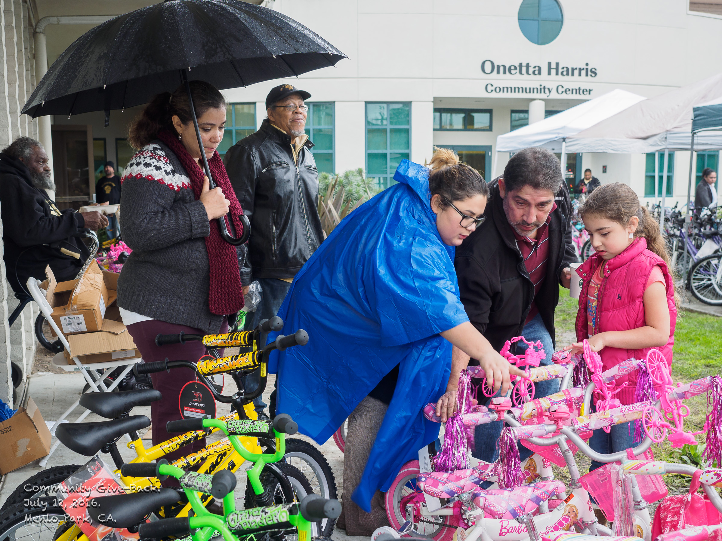 2016 Community Give Back.  Members of All of Us or None, an organization that supports rights of formerly imprisoned people, and Legal Services for Prisoners with Children gave away about 100 new bicycles to children of imprisoned people.  Each child got a bike, a helmet, and lunch, wrote thank you notes to the imprisoned parent who arranged the gift, and got a photo taken showing the child/children with new bikes.  A print of the photo is sent inside for one parent, and to the house for the rest of the family.